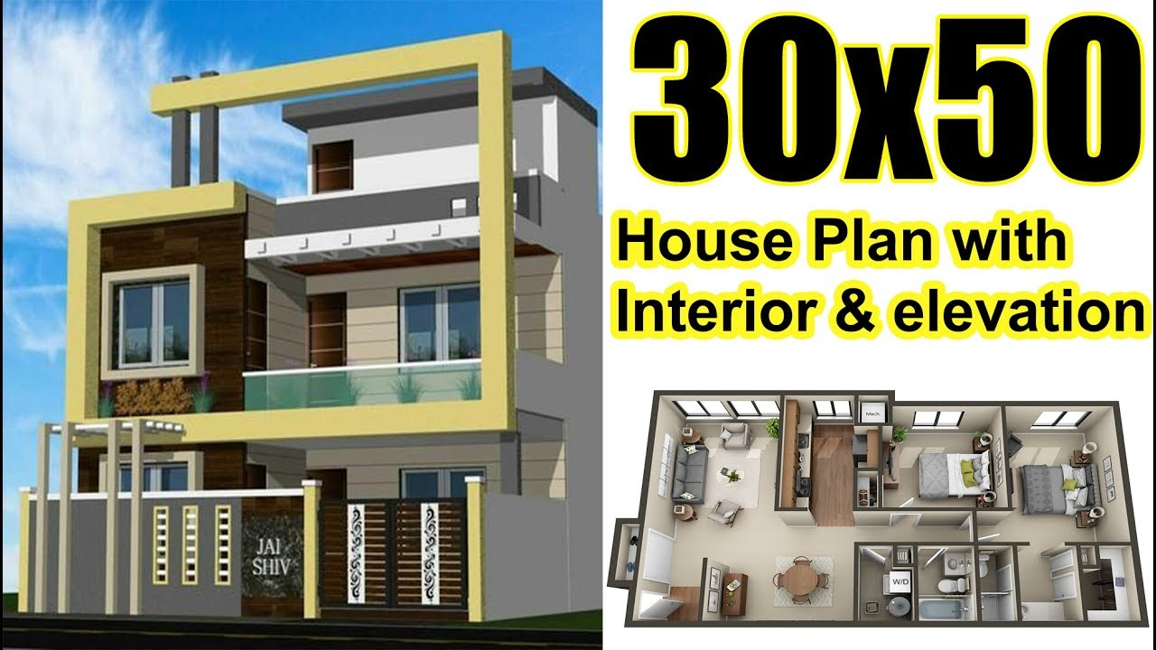 30x50 House Plan With Interior Elevation Complete
