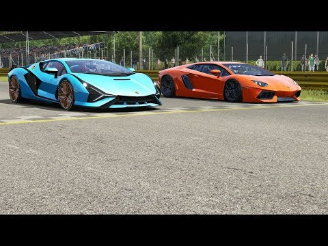 Lamborghini Sian FKP37 vs Lamborghini Aventdor LP700-4 at Monza Full Course