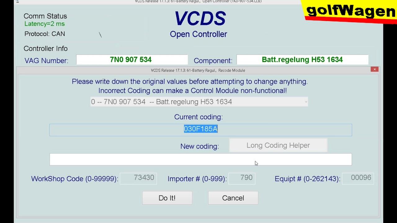 vcds vag battery regelung options vw golf 7 vw golf 6 vw passat b7 youtube. Black Bedroom Furniture Sets. Home Design Ideas