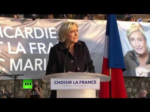 Marine Le Pen tient son dernier meeting à Ennemain avant le 7 mai