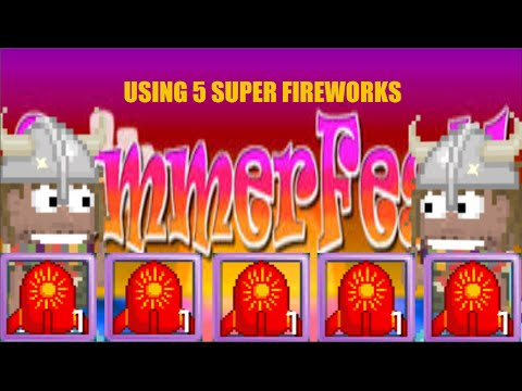 Growtopia - Using 5 Super Fireworks - 동영상