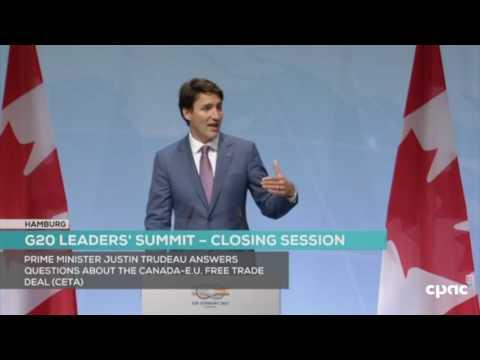 Justin Trudeau news conference at close of Hamburg G20 leaders' summit