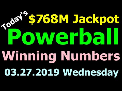 Today Powerball Winning Numbers 27 March 2019 ($768M Jackpot). Powerball drawing tonight 3/27/2019