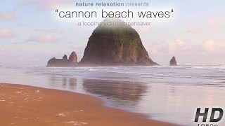 """Cannon Beach Sunset Waves"" Still Nature Scene w/ Stereo Ocean Sounds 1080p Relaxation Video"