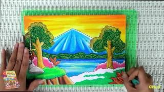 Tutorial Mewarnai Pemandangan Alam dengan Krayon (Oil Pastel)
