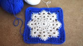 """👆️️️Красивый квадратный мотив крючком """"Снежинка в окошке"""" Урок 163  crochet square motif"""
