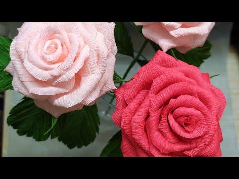 Реалистичная роза из гофрированной бумаги. Roza iz gofrirovannoy bumagi.