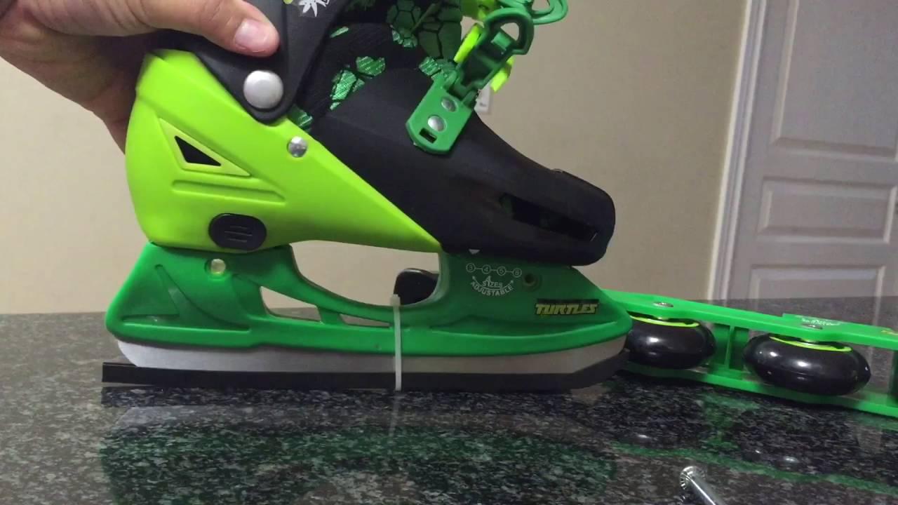 TEENAGE MUTANT NINJA TURTLES 2 In 1 Convertible Inline Skates Ice Rollerblades