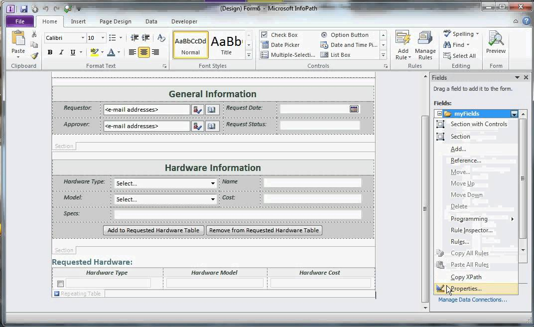 Create and Design Form in MS Infopath 2010 part 1 - YouTube