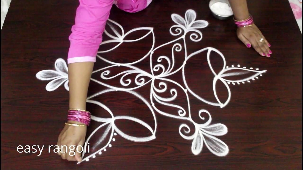 Beginners Diwali diya rangoli kolam designs || Deepavali rangula muggulu