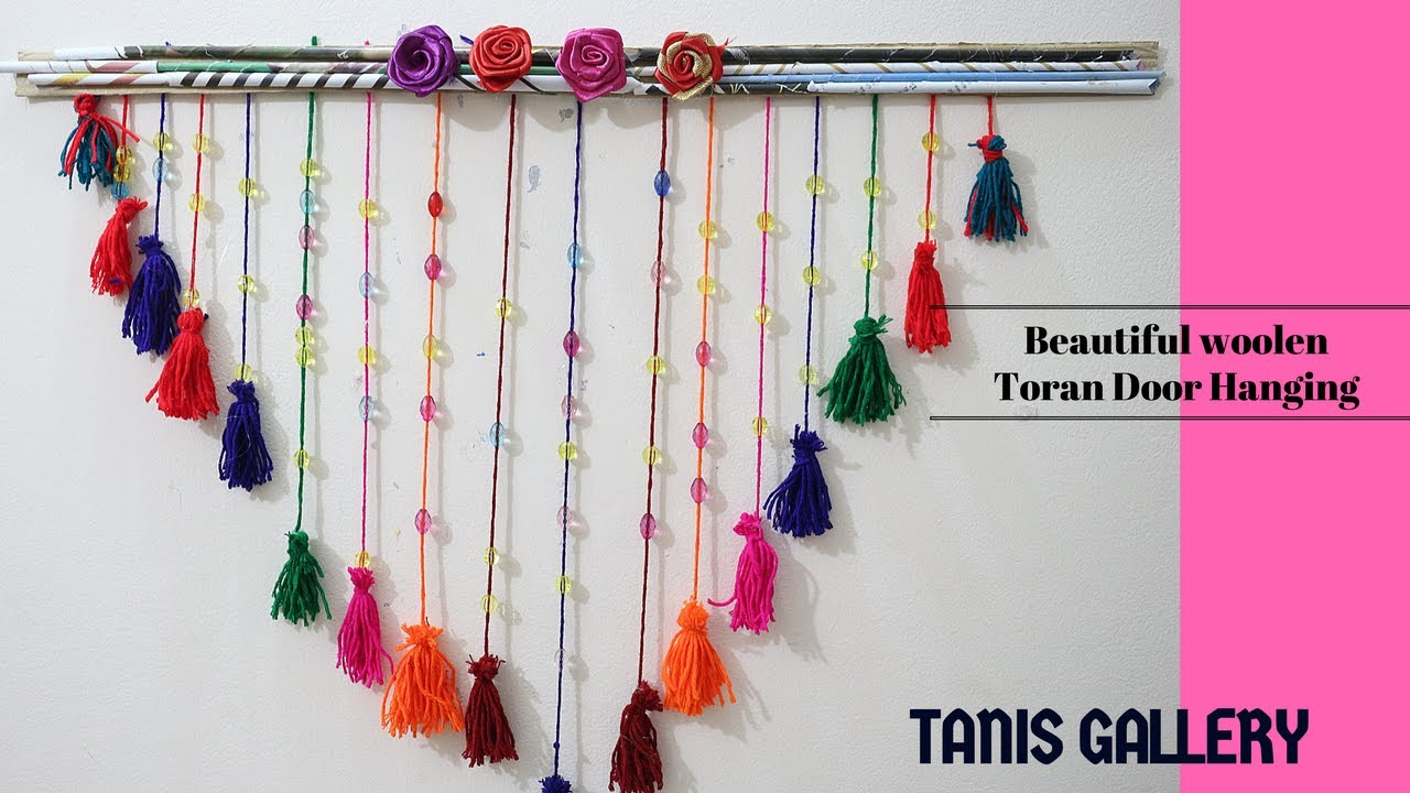 DIY cute & Beautiful woolen Toran Door Hanging | Handmade toran ...