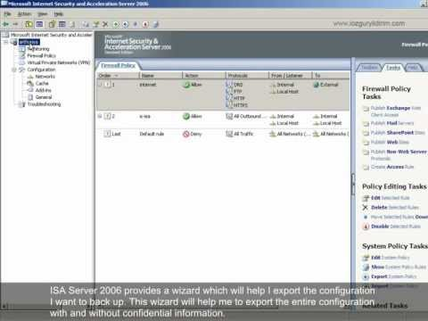 How To Create A Backup On ISA Server 2006?