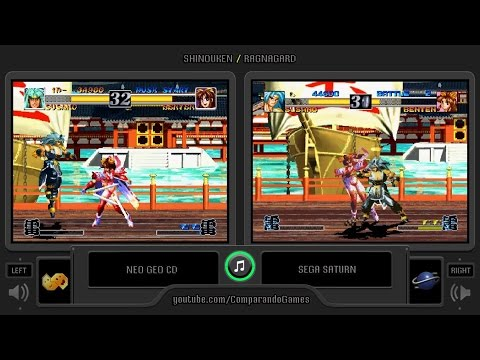 Ragnagard (Neo Geo Cd vs Sega Saturn) Side by Side Comparison (Shinouken)
