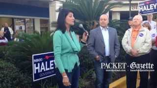 Gov. Nikki Haley stopped by the Hilton Head Island Republican Club's headquarters offices Friday morning as part of a statewide campaign bus tour she's taking in the days leading up to next week's general election.