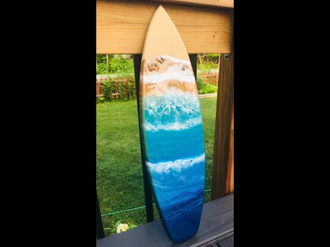 #82 - Resin Ocean pour on Surf Board ~ Fluid Art, Resin Art
