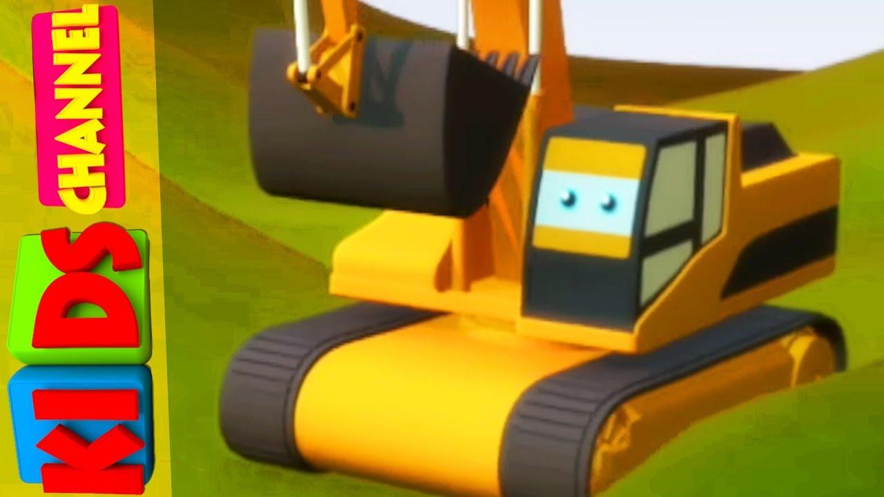 Digger | Cartoon Vehicles | Educational Videos For ...