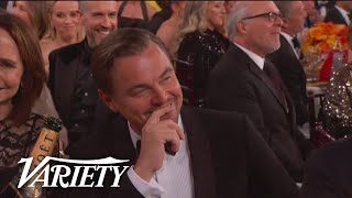 Ricky Gervais Roasts Leonardo DiCaprio at the Golden Globes