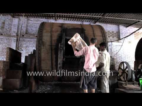 Process of leather tanning at a tannery in Kanpur