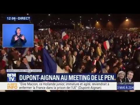 "Nicolas Dupont-Aignan ovationné à Villepinte: ""J'ai choisi la France, j'ai choisi Marine"""