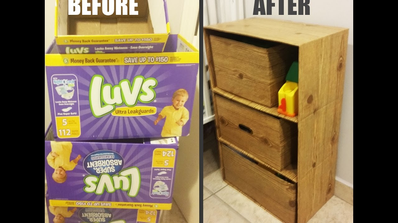 Diy dresser w cardboard boxes youtube for How to make a dresser out of cardboard