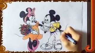小樣卡通三分鍾學會簡筆畫米老鼠和米妮塗鴉學畫視頻