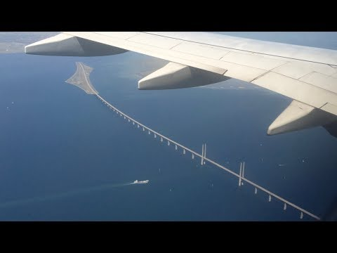 Norwegian Flight Over Öresund Bridge, Landing to Copenhagen