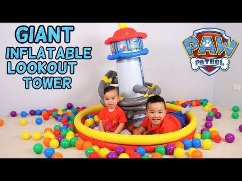 Paw Patrol Giant Inflatable Lookout Tower Playland Toys Unboxing Fun With Ckn