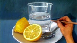 Still Life Drawing Realism - lemon /spoon / glass of water