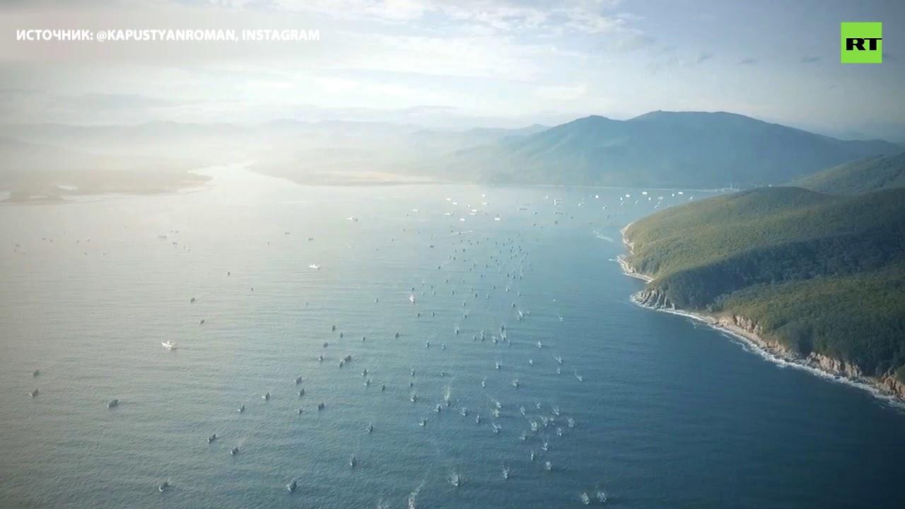 500 кораблей, спасшихся от тайфуна «Линлин», покидают бухту Ольга в Приморье