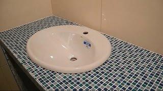 Делаем столешницу из мозаики под умывальник ч.4(В ролике показано как облицевать столешницу под умывальник,в ванной комнате,мозаикой.Подробно показаны..., 2014-12-25T20:39:30.000Z)