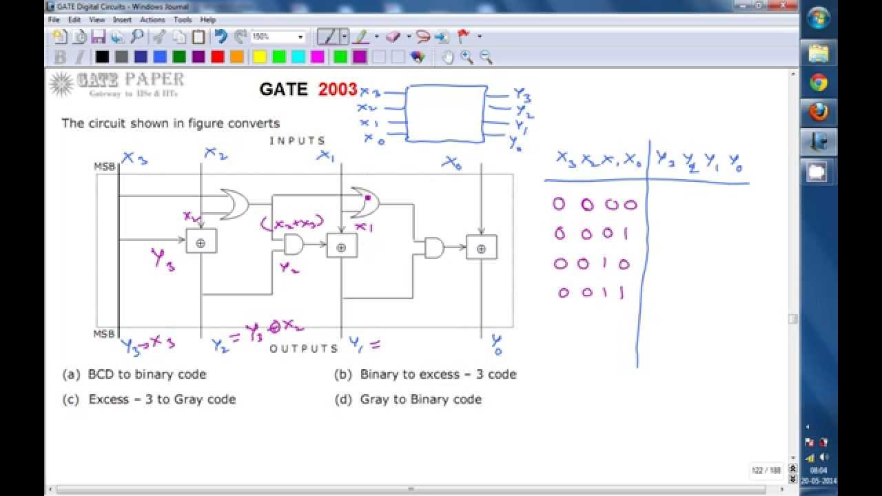 Gate 2003 Ece Bcd To Binary Code Converter Youtube The Circuit Of Adder Will Be As Shown In Figure