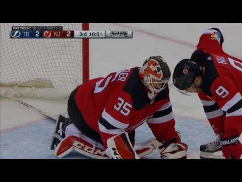 Cory Schneider appears to get HURT while making save (Devils vs. Lightning 2018 NHL Playoffs)