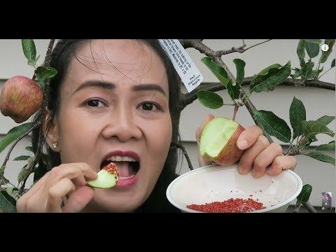 Ăn táo đỏ tại cây,ăn việt quất,  giàn nho đẹp, hái bí ngồi.