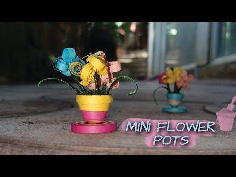 Mini Flower Pots - DIY Mini Paper Quilled Flower Pots - Paper Craft Series#4