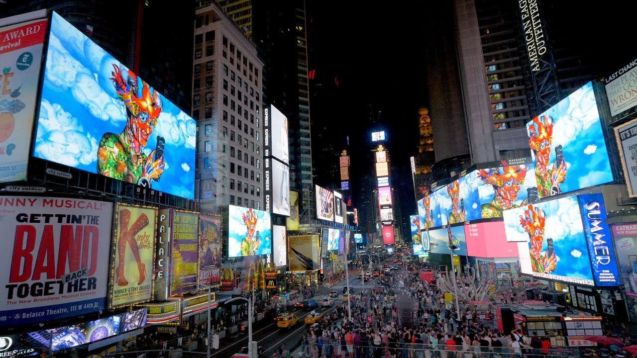 """Carla Gannis """"Portraits in Landscape"""" Times Square Midnight Moment"""