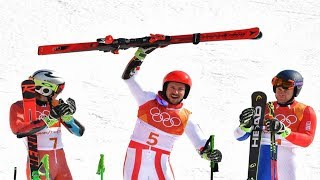 The Austrian Hirscher sweeps the giant and adds his second gold in the Pyeongchang Winter Games.