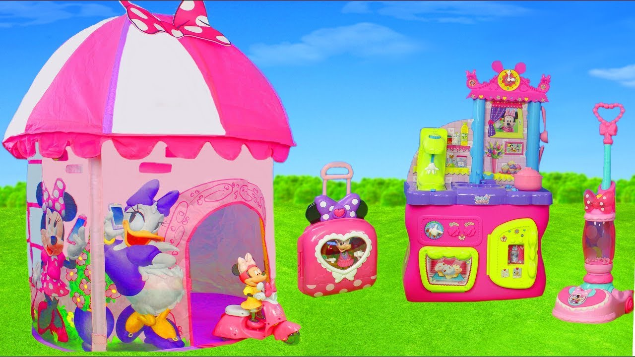 brand new 65c1b 22e6d Minnie Mouse Unboxing: Play Tent, Bow Tique, Kitchen, Refrigerator, Toy  Vehicles & Dolls for Kids