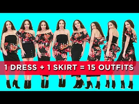 15 OUTFITS with 1 SKIRT + 1 DRESS ! 15 OUTFIT IDEAS for Spring / Summer with 2 Items Only! !