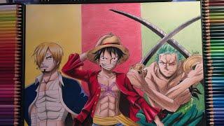 Drawing Luffy, Sanji, Zoro -  ONE PIECE speed drawing