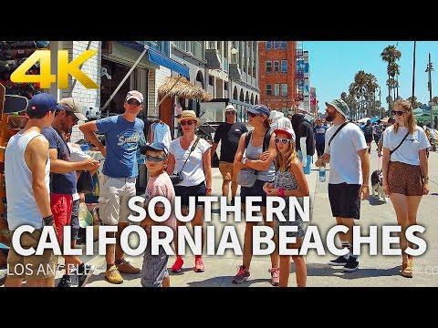 SOUTHERN CALIFORNIA BEACHES TRAVEL - USA, WALKING TOUR(4 HOURS), Best Beaches In California, 4K UHD