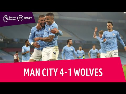 Man City vs Wolves (4-1)   City match club-record 28-game unbeaten run   Premier League Highlights