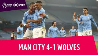 Man City vs Wolves (4-1) | City match club-record 28-game unbeaten run | Premier League Highlights
