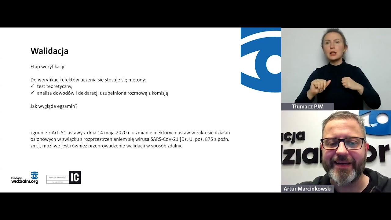 zdjęcie lub grafika do zasobu: Webinar z doradcą walidacyjnym - YouTube