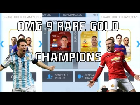 350$ WORTH OF PACKS, 9 RARE GOLD CHAMPIONS!!! FIFA 16 IOS MOBILE PACK OPENING