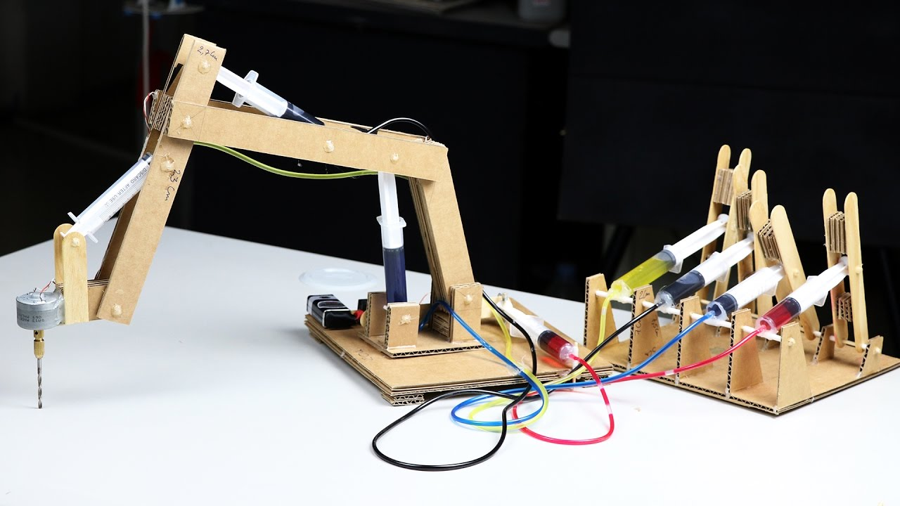 Cardboard Hydraulic Ar : How to make hydraulic powered robotic drill youtube