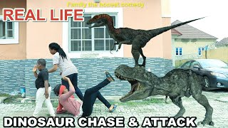 Jurassic World in Real Life Dinosaur attack Princess T-Rex Chase (Family The Honest Comedy)