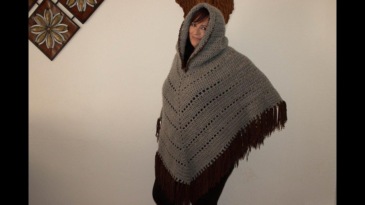 Como hacer poncho con capucha y flecos. - YouTube