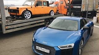 Нива с V8 приехала на RDS 2017 (пока не сама). Дрифт на Audi R8. Мы в ШОКЕ
