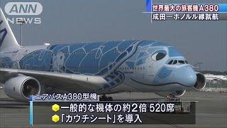 ANAの超大型A380が就航開始 ハワイ便顧客奪い合い(19/05/25)
