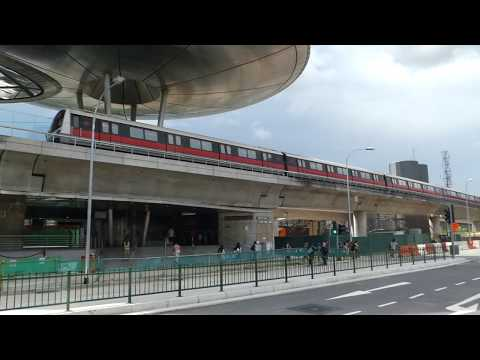Singapore MRT Changi Airport Branch Line Expo Station シンガポール地下鉄チャンギ空港支線C151A形 エキスポ駅到着